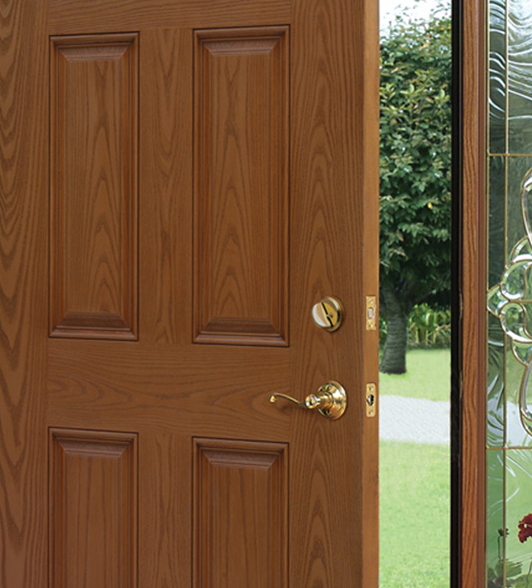 Smooth textured fiberglass doors