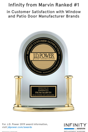 Image of JD Power Award for Infinity windows ranked #1