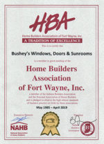 Home Builders Association award issued to Bushey's Windows, Doors & Sunrooms